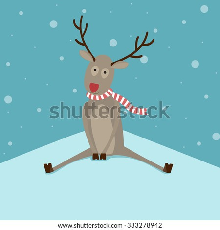Cute simple reindeer character sitting in a snow. Template for Christmas cards. In flat design, vector - stock vector
