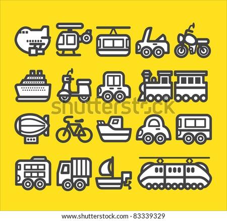 cute simple transportation icon - stock vector