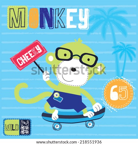 cute skateboarder monkey striped background vector illustration - stock vector