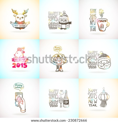 Cute sketch doodle Happy New Year and Merry Christmas card set with santa claus, deer, goat, sheep, Chinese lantern, cacao, tree, gift, owl, fan, mandarin, berry... - stock vector