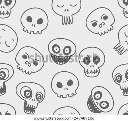 cute skull background - stock vector