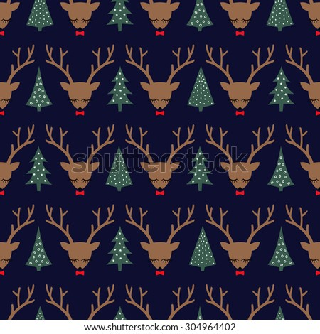 Cute sleeping deer with bow and Xmas Trees seamless pattern. Deer head silhouette background for winter holidays - stock vector