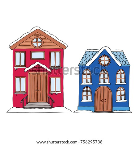 Cute small colorful houses with snow covered roof and doorstep old fashioned style two  sc 1 st  Shutterstock & Cute Small Colorful Houses Snow Covered Stock Photo (Photo Vector ...