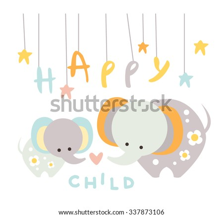 Cute Small Elephant with Mom. Vector Illustration in Flat Style - stock vector
