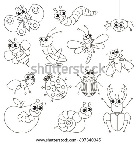 Cute Small Insects Set Be Colored Stock Vector HD (Royalty Free ...