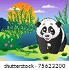 Cute small panda in bamboo forest - vector illustration. - stock vector