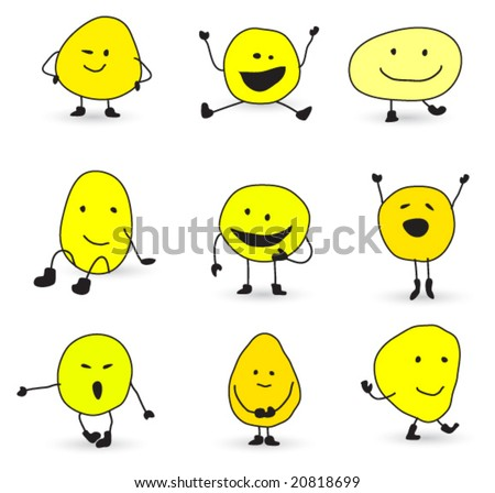 cute smiley characters - stock vector