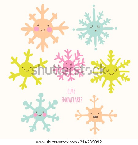 Cute smiley snowflakes in cartoon style. Adorable christmas characters. Winter xmas funny doodles. - stock vector