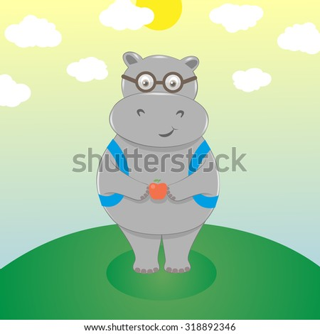 Cute smiling cartoon hippo in eyeglasses with backpack and an apple. Scholar go to school, back to school. Vector illustration - stock vector