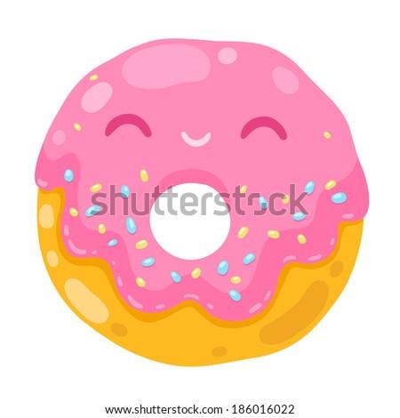 cute smiling donut. cartoon food illustration - stock vector