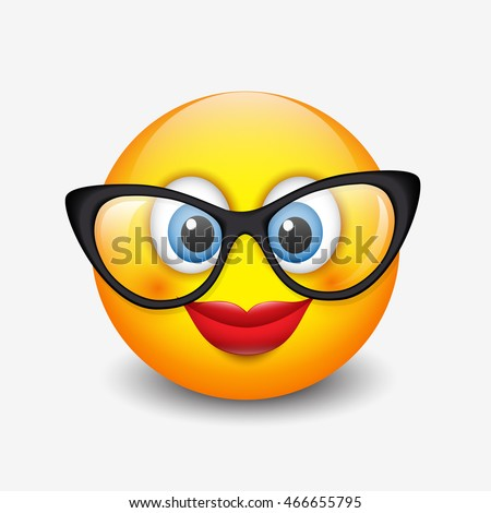 Female Smile Face With Glasses Emoji Image
