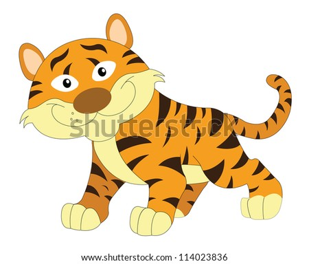 Cute smiling orange and brown tiger, vector illustration - stock vector