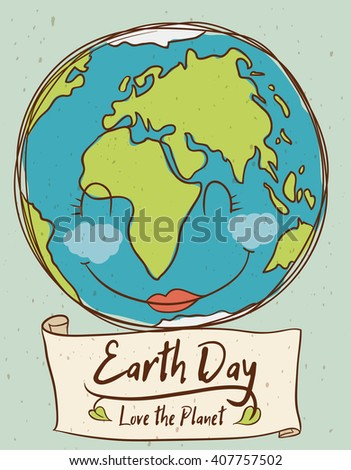Cute smiling planet remembering you that is the Earth Day! - stock vector