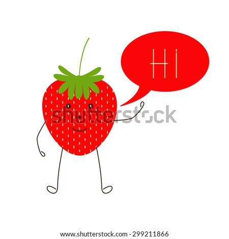 Cute smiling strawberry character waving hand and speech bubble with word hi in it isolated on white background. Logo template, design element, vegetarian menu decoration. Flat style illustration - stock vector