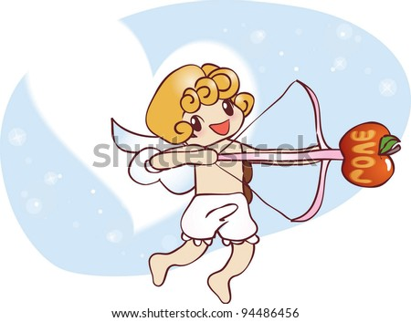Cute Smiling Young Angel with wings, a bow and arrow on a background of white heart symbol and beautiful blue sky - stock vector