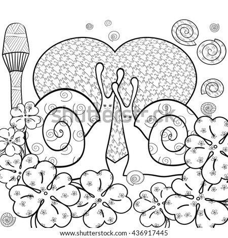 Cute Snail Adult Coloring Book Page Snails In Whimsical Forest With Big Heart And Magic