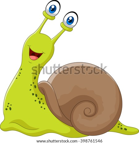 Cute snail isolated on white background - stock vector