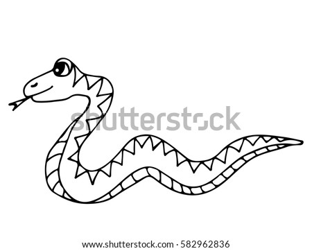 cute snake isolated on the white background for coloring book and other child design - Outline Cartoon Pictures