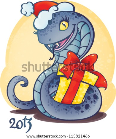Cute snake - symbol of Chinese horoscope for new 2013 year. - stock vector