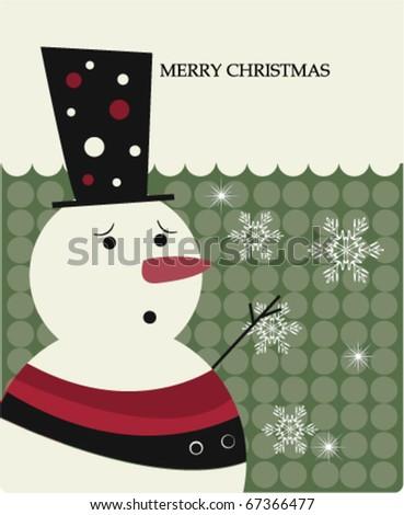 Cute snowman - stock vector