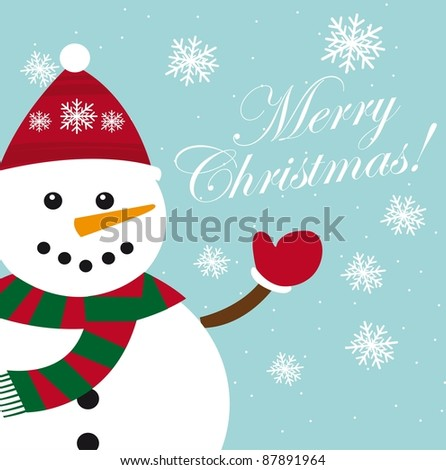 cute snowman card with snowflakes, christmas. vector