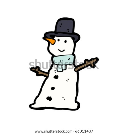 cute snowman cartoon - stock vector