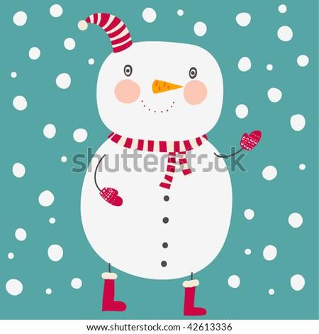 Cute snowman, christmas card - stock vector