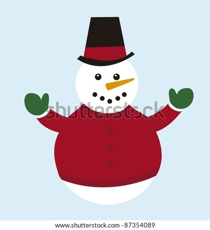 cute snowman isolated over blue background. vector