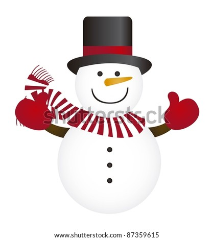 cute snowman isolated over white background. vector - stock vector