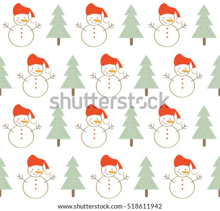 Cute Snowman With Christmas Tree On White Background Design Pattern Seamless Backdrop Wallpaper Vector Image