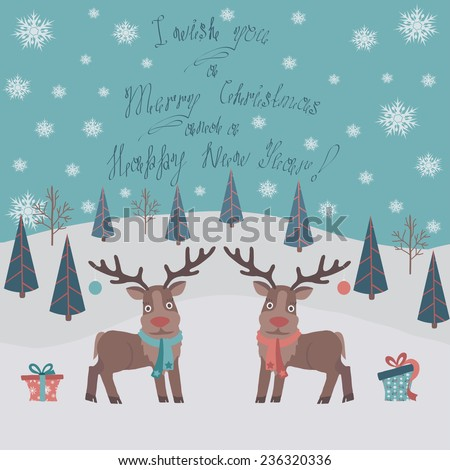 Cute snowy Christmas card with a couple deer in flat design.Vector illustration.  - stock vector