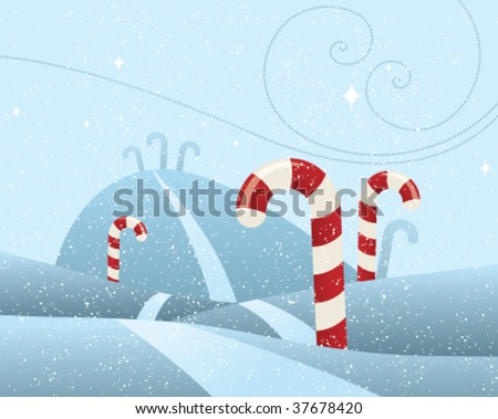 cute snowy scene with candy cane trees, snowy hills, and a starry sky.