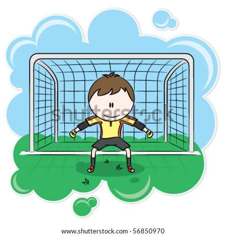 Cute soccer goalkeeper on the gate - stock vector