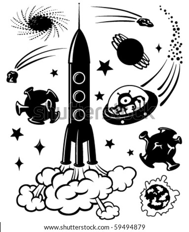 Cute space silhouettes, vector illustration - stock vector