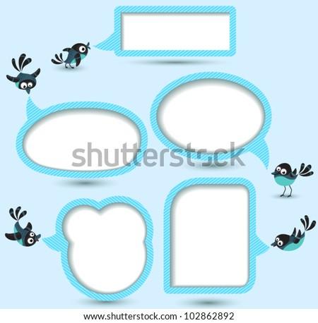 Cute Speech bubbles templates set with birds - stock vector