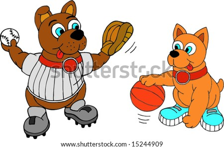 Cute sport dog mascots, easily change colors - stock vector