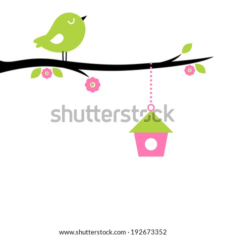 Cute spring Bird on tree branch   - stock vector