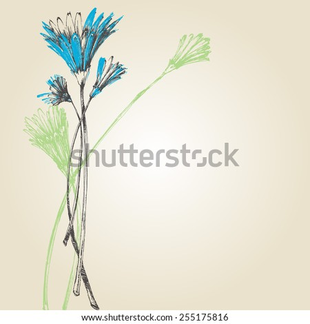 Cute spring flowers background - stock vector