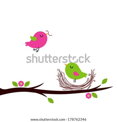 Cute spring nesting birds isolated on white  - stock vector