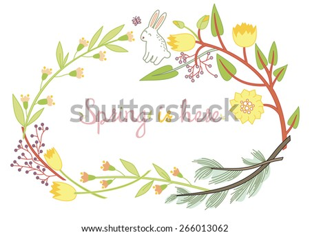 Cute spring postcard with rabbit. Happy Easter. Floral background, spring theme, greeting card. Spring is here. Vintage letters against floral background. - stock vector