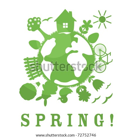 Cute spring symbol. Green planet.