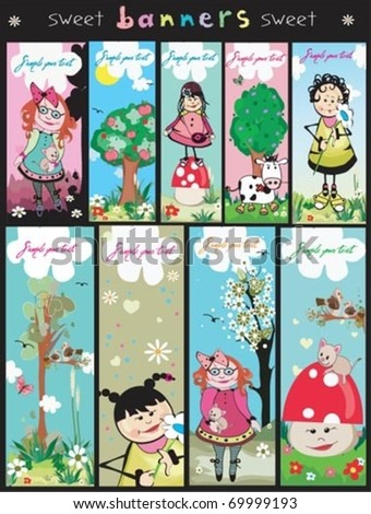 Cute Spring, Vertical banners. - stock vector