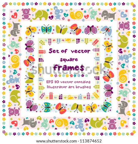 Cute square frames with baby icons for your design. EPS 8 vector contains Illustrator art brush for your design - stock vector