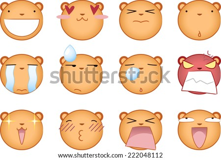 Cute squirrel smiling Smileys Avatar collection Set