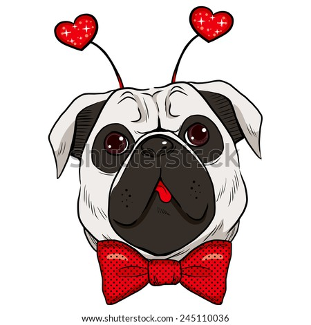 Cute St. Valentine pug dog showing tongue with red bowtie and fashionable red sparkling heart accessory - stock vector
