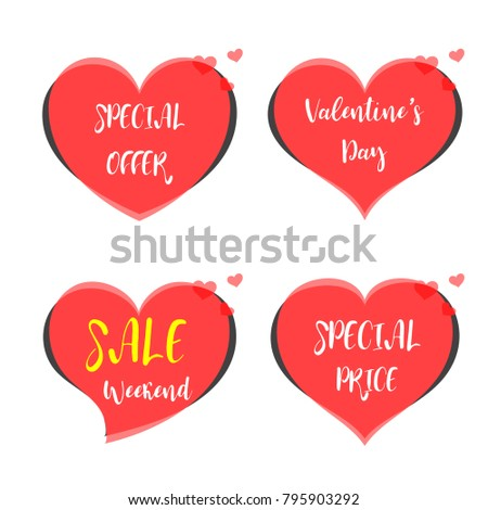 Cute Sticker Happy Valentines Day Banner Stock Vector