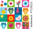 cute stitch owls and other baby themed elements - stock vector