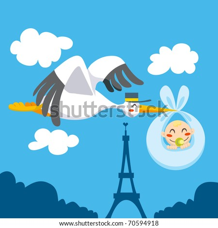 Cute stork flying the skies over Eiffel Tower carrying a newborn baby for delivery - stock vector