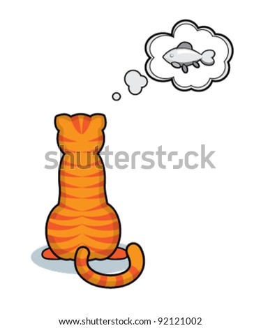 Cute  stripy cat with a fish - stock vector
