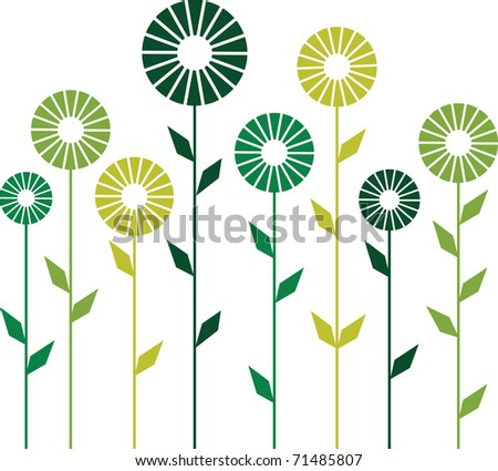 Cute stylish abstract flowers. Vector illustration - stock vector